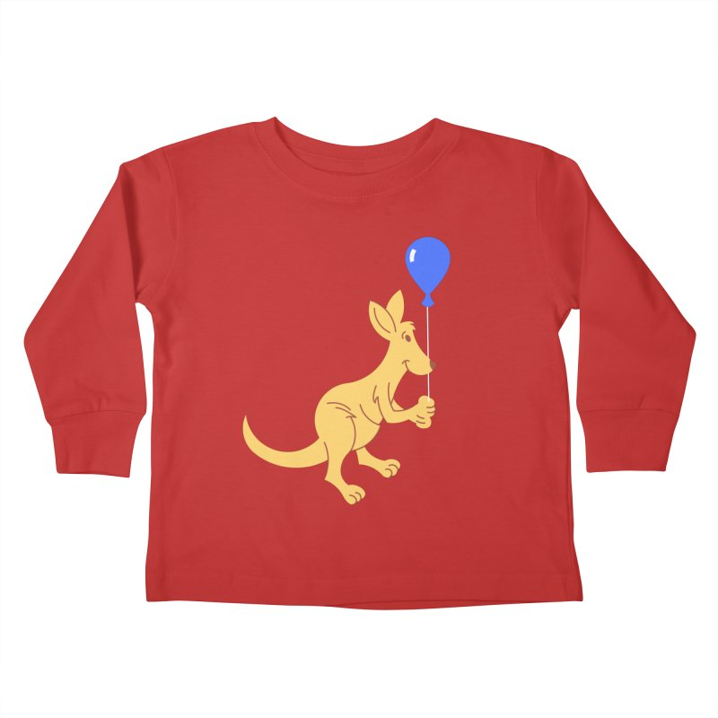 Kangaroo with a Balloon Kids Toddler Longsleeve T-Shirt by Eddie Fieg Graphic Design and Illustration