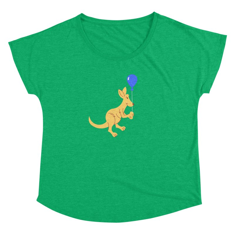 Kangaroo with a Balloon Women's Dolman Scoop Neck by Eddie Fieg Graphic Design and Illustration