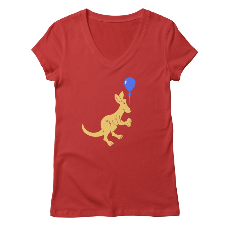 Kangaroo with a Balloon Women's Regular V-Neck by Eddie Fieg Graphic Design and Illustration