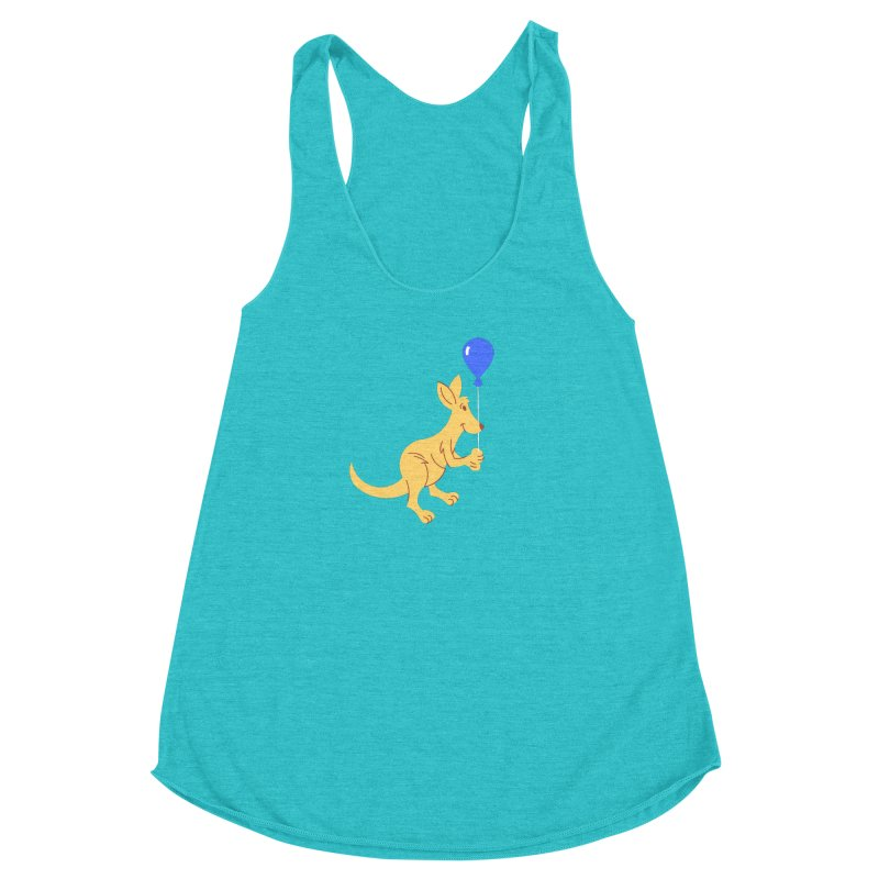 Kangaroo with a Balloon Women's Racerback Triblend Tank by Eddie Fieg Graphic Design and Illustration