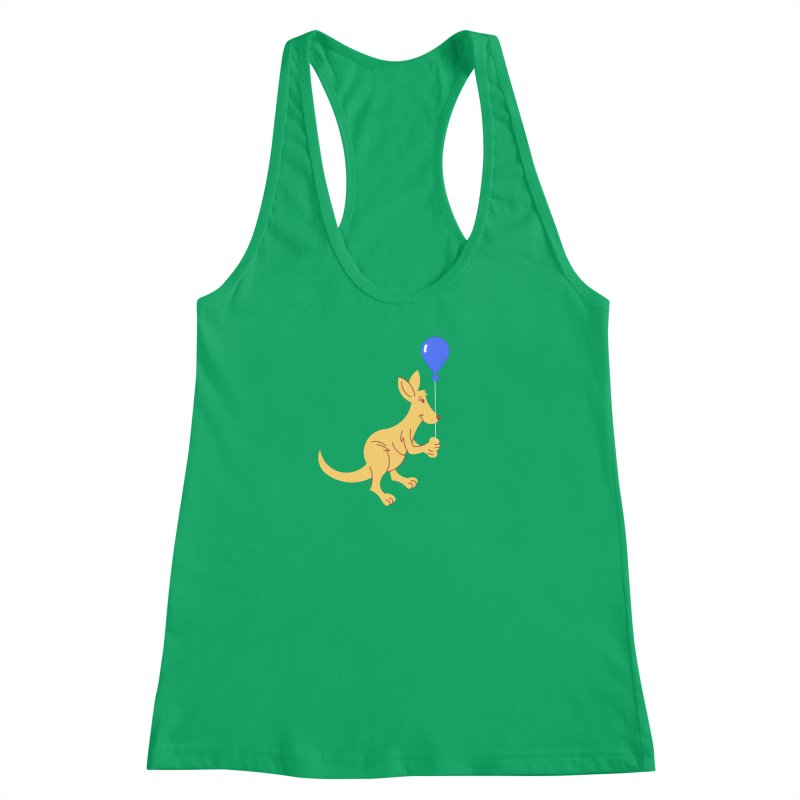 Kangaroo with a Balloon Women's Racerback Tank by Eddie Fieg Graphic Design and Illustration