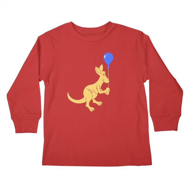 Kangaroo with a Balloon Kids Longsleeve T-Shirt by Eddie Fieg Graphic Design and Illustration
