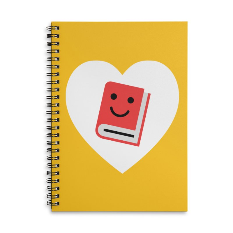 I Heart Books Accessories Lined Spiral Notebook by Eddie Fieg Graphic Design and Illustration