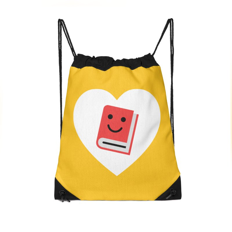 I Heart Books Accessories Drawstring Bag Bag by Eddie Fieg Graphic Design and Illustration