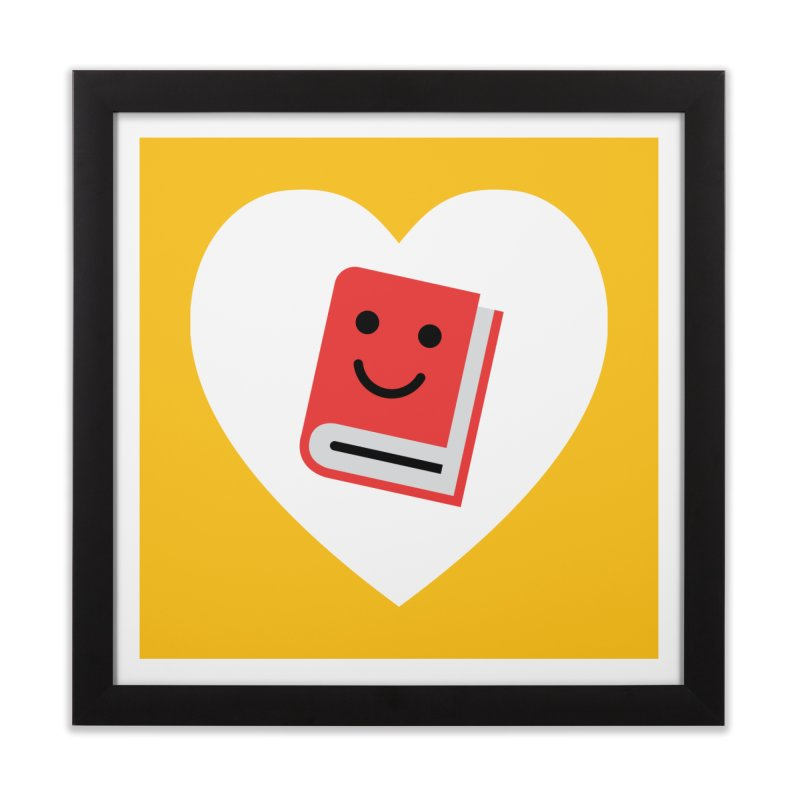 I Heart Books Home Framed Fine Art Print by Eddie Fieg Graphic Design and Illustration