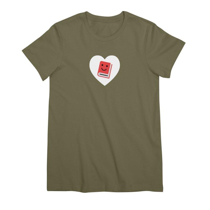 I Heart Books Women's Premium T-Shirt by Eddie Fieg Graphic Design and Illustration