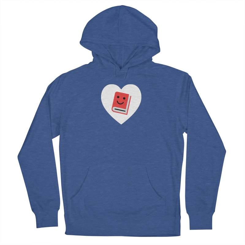 I Heart Books Men's French Terry Pullover Hoody by Eddie Fieg Graphic Design and Illustration