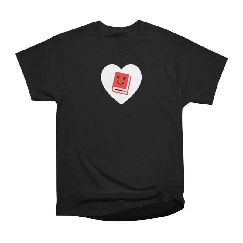 I Heart Books Women's Heavyweight Unisex T-Shirt by Eddie Fieg Graphic Design and Illustration