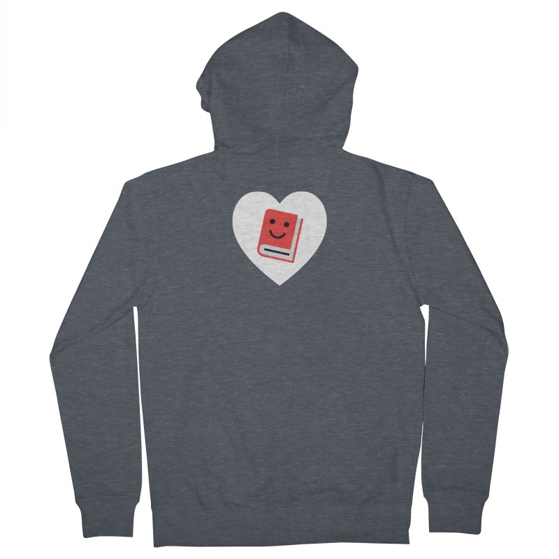 I Heart Books Women's French Terry Zip-Up Hoody by Eddie Fieg Graphic Design and Illustration