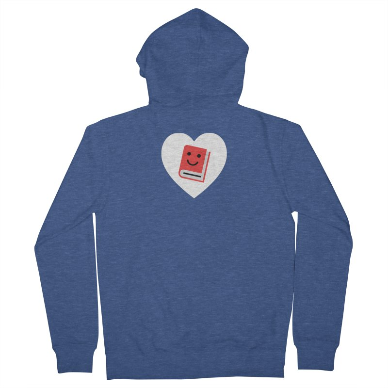 I Heart Books Men's French Terry Zip-Up Hoody by Eddie Fieg Graphic Design and Illustration