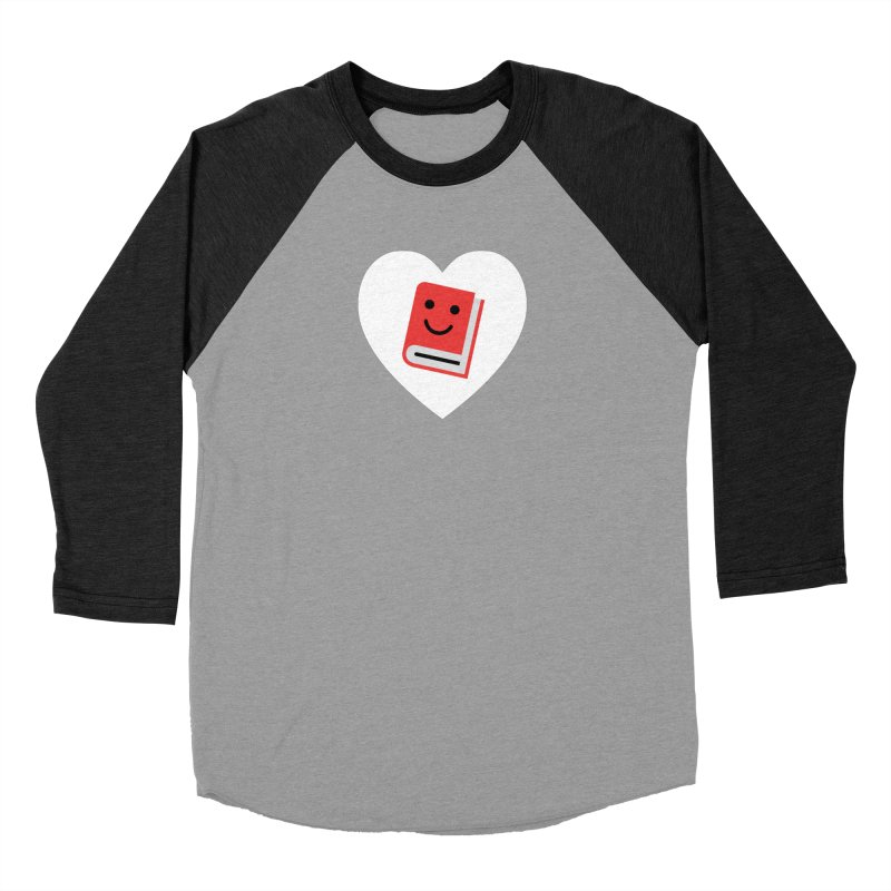 I Heart Books Men's Baseball Triblend Longsleeve T-Shirt by Eddie Fieg Graphic Design and Illustration