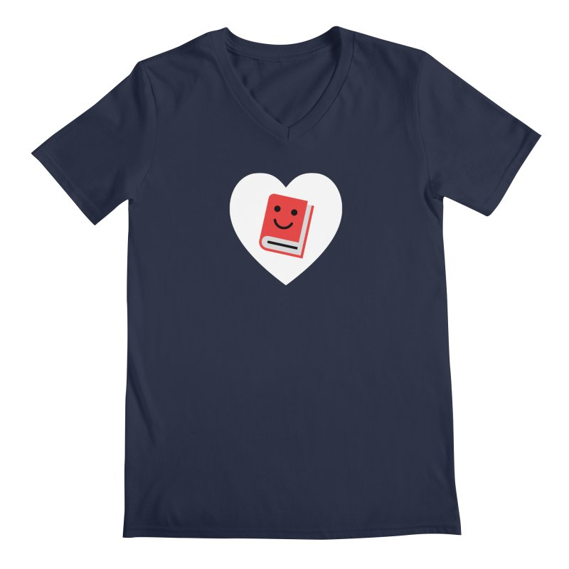 I Heart Books Men's Regular V-Neck by Eddie Fieg Graphic Design and Illustration