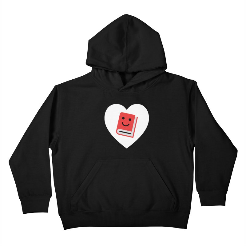 I Heart Books Kids Pullover Hoody by Eddie Fieg Graphic Design and Illustration