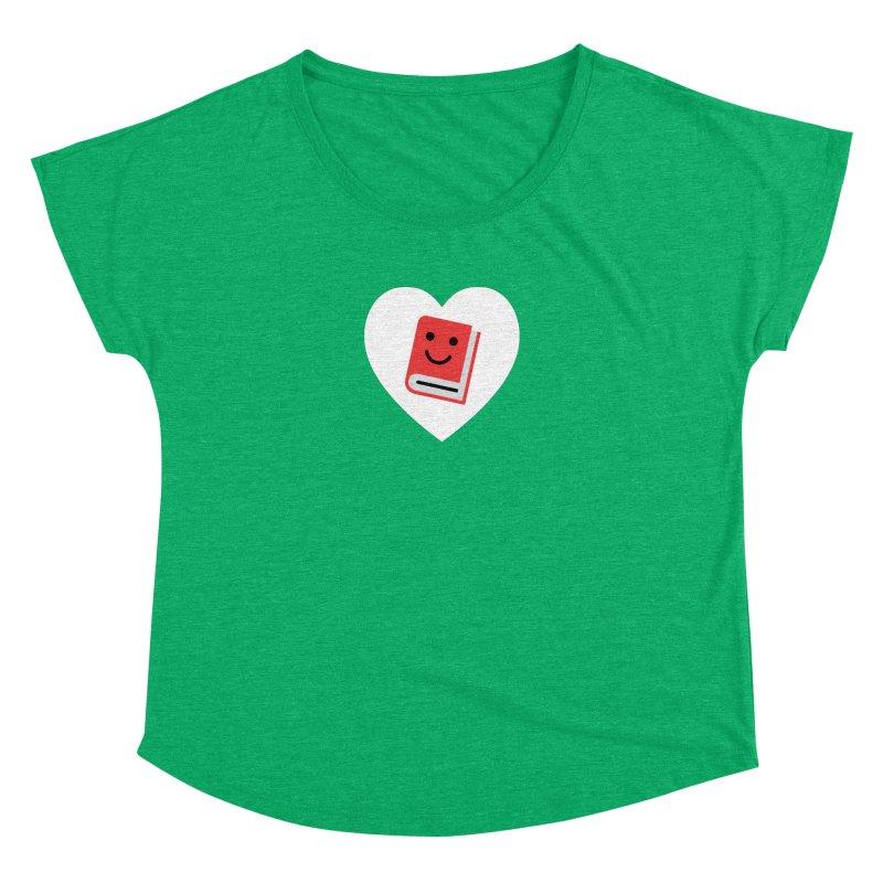 I Heart Books Women's Dolman Scoop Neck by Eddie Fieg Graphic Design and Illustration