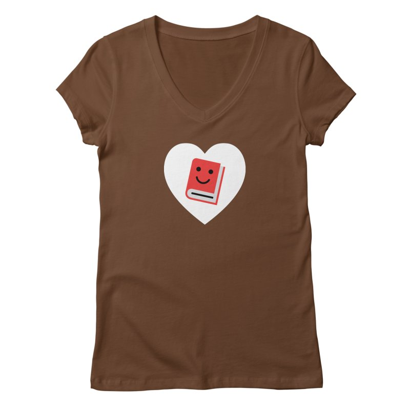 I Heart Books Women's Regular V-Neck by Eddie Fieg Graphic Design and Illustration