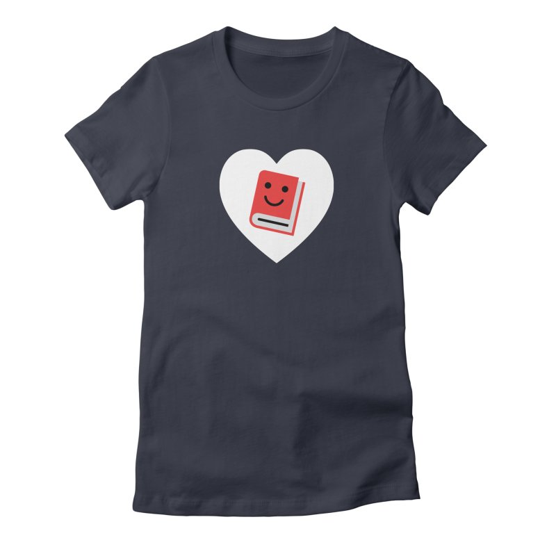 I Heart Books Women's Fitted T-Shirt by Eddie Fieg Graphic Design and Illustration