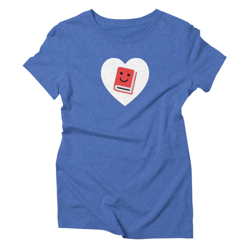 I Heart Books Women's Triblend T-Shirt by Eddie Fieg Graphic Design and Illustration