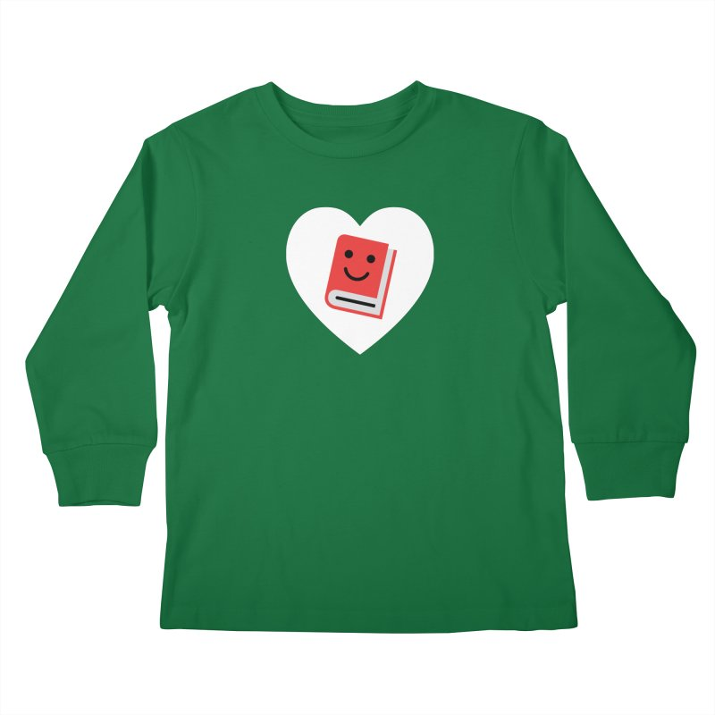 I Heart Books Kids Longsleeve T-Shirt by Eddie Fieg Graphic Design and Illustration