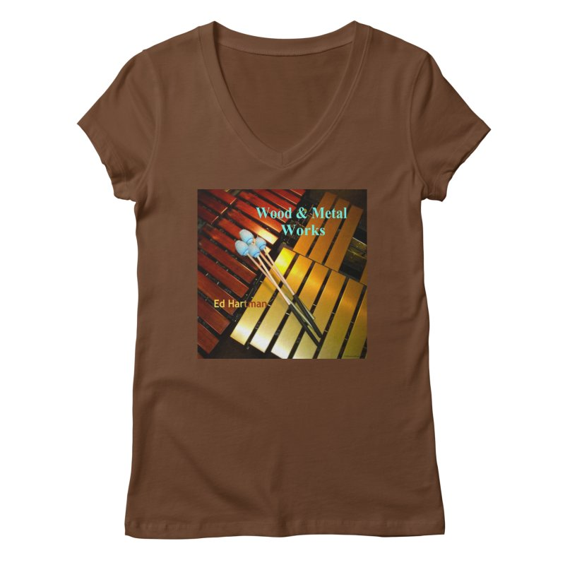 Wood and Metal Works CD Cover Women's Regular V-Neck by EdHartmanMusic Swag Shop!