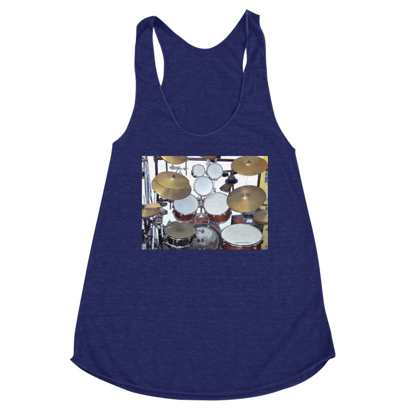 I need a BIG Drumset! Women's Racerback Triblend Tank by EdHartmanMusic Swag Shop!