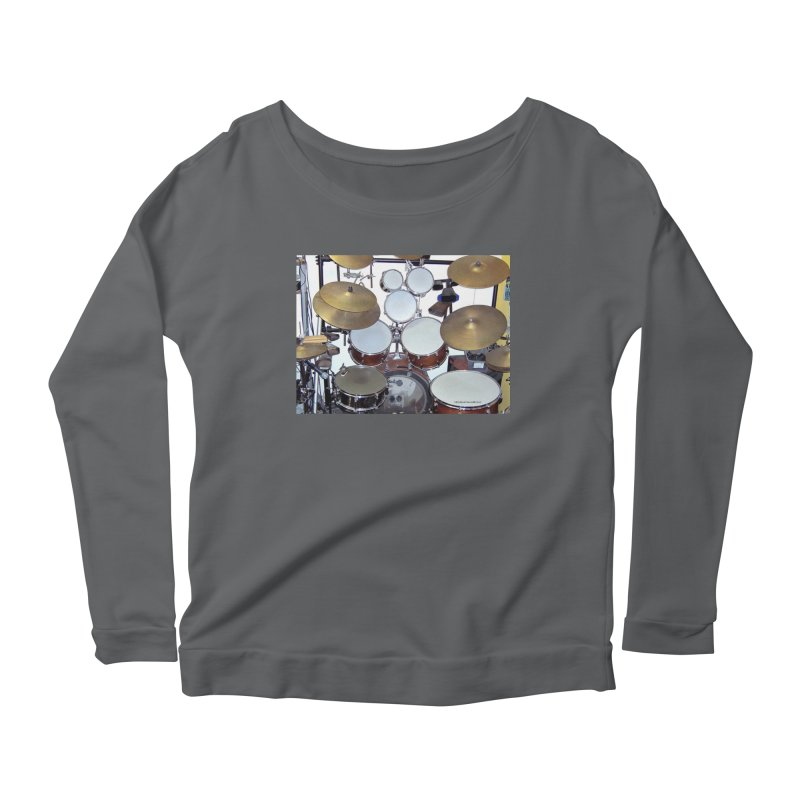 I need a BIG Drumset! Women's Scoop Neck Longsleeve T-Shirt by EdHartmanMusic Swag Shop!