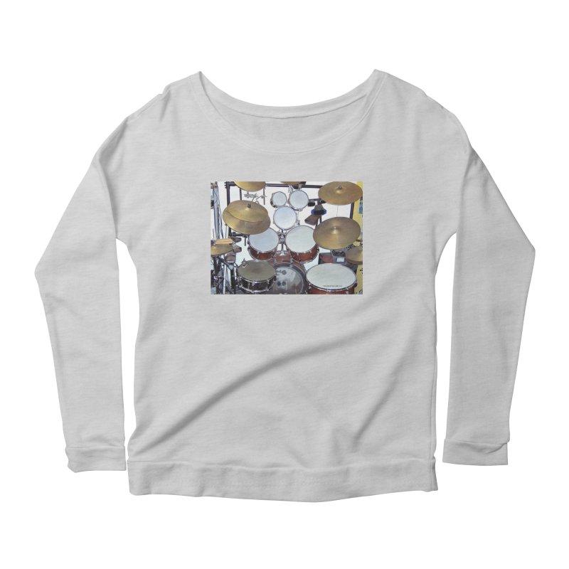 I need a BIG Drumset! Women's Scoop Neck Longsleeve T-Shirt by EdHartmanMusic Swag Shop!