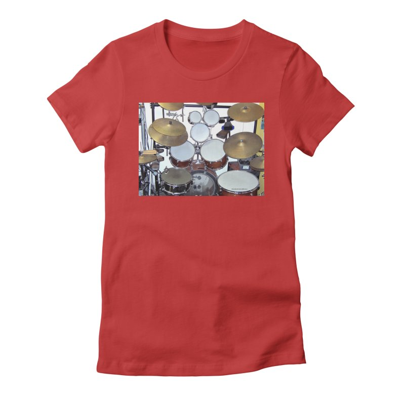 I need a BIG Drumset! Women's Fitted T-Shirt by EdHartmanMusic Swag Shop!