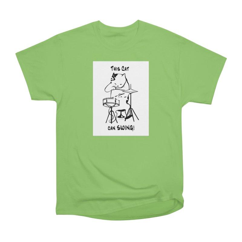 THIS CAT CAN SWING! Men's Heavyweight T-Shirt by EdHartmanMusic Swag Shop!