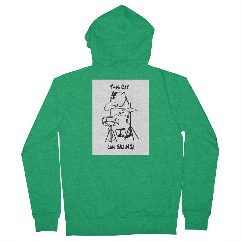 THIS CAT CAN SWING! Women's French Terry Zip-Up Hoody by EdHartmanMusic Swag Shop!