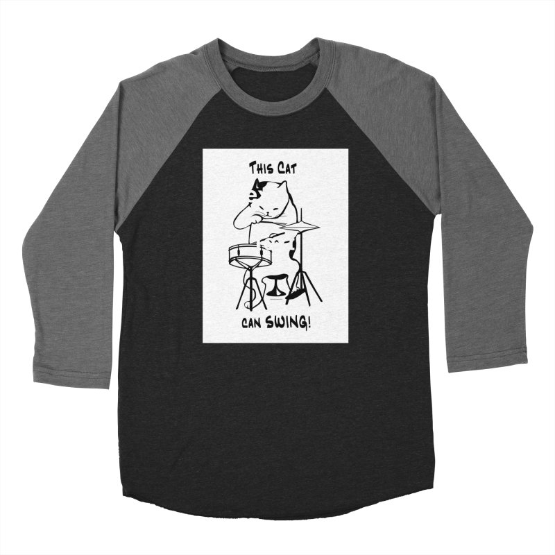 THIS CAT CAN SWING! Women's Baseball Triblend Longsleeve T-Shirt by EdHartmanMusic Swag Shop!