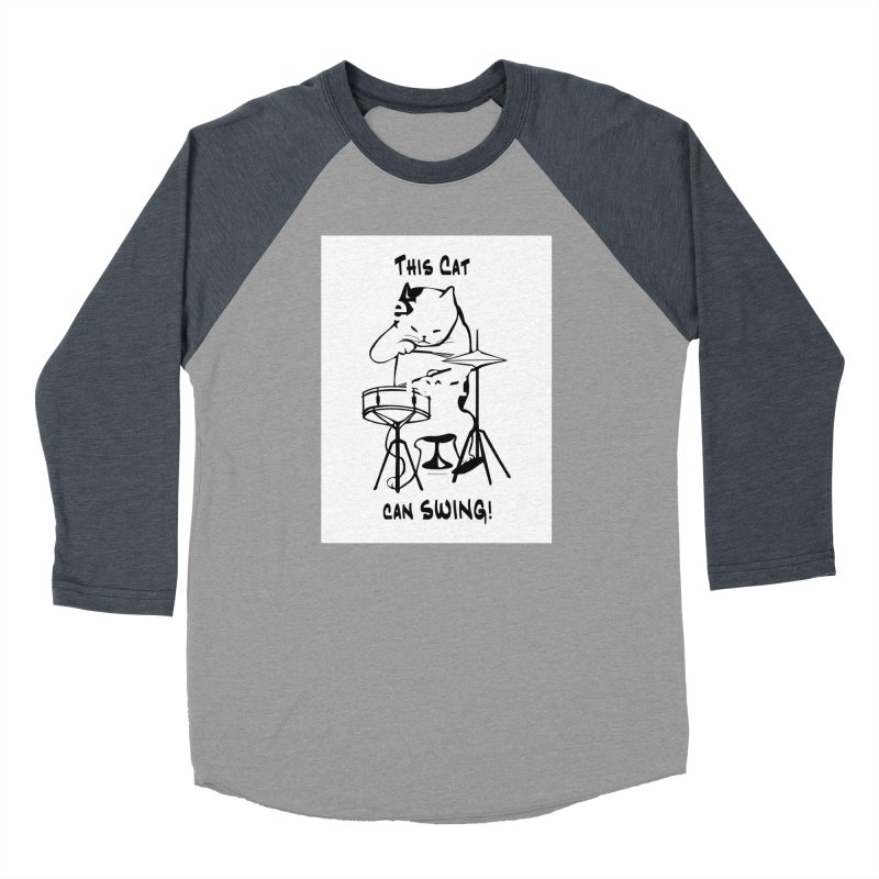 THIS CAT CAN SWING! Women's Baseball Triblend Longsleeve T-Shirt by EdHartmanMusic Swag Shop!