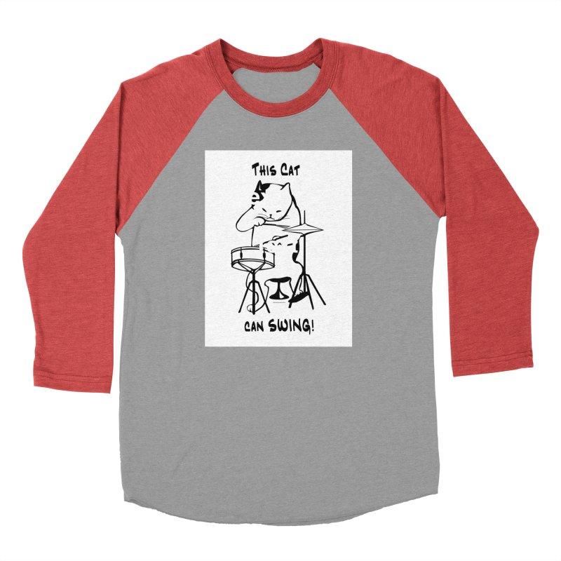 THIS CAT CAN SWING! Men's Baseball Triblend T-Shirt by EdHartmanMusic Swag Shop!