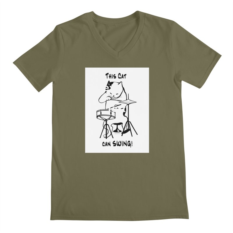 THIS CAT CAN SWING! Men's V-Neck by EdHartmanMusic Swag Shop!