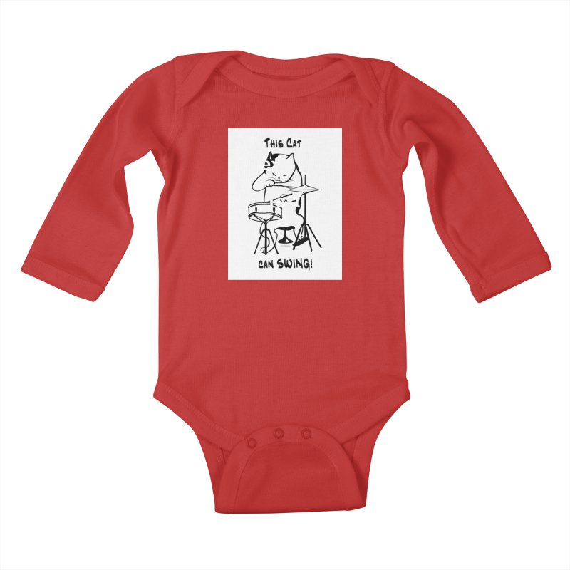 THIS CAT CAN SWING! Kids Baby Longsleeve Bodysuit by EdHartmanMusic Swag Shop!