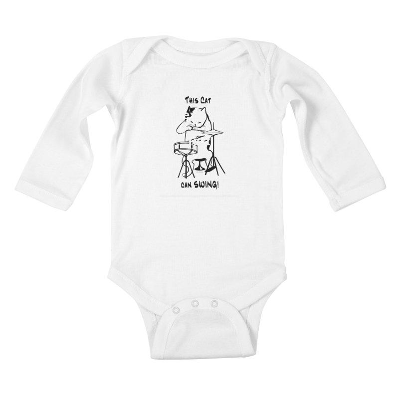 THIS CAT CAN SWING! Kids Baby Longsleeve Bodysuit by EdHartmanMusic Swag Shop!
