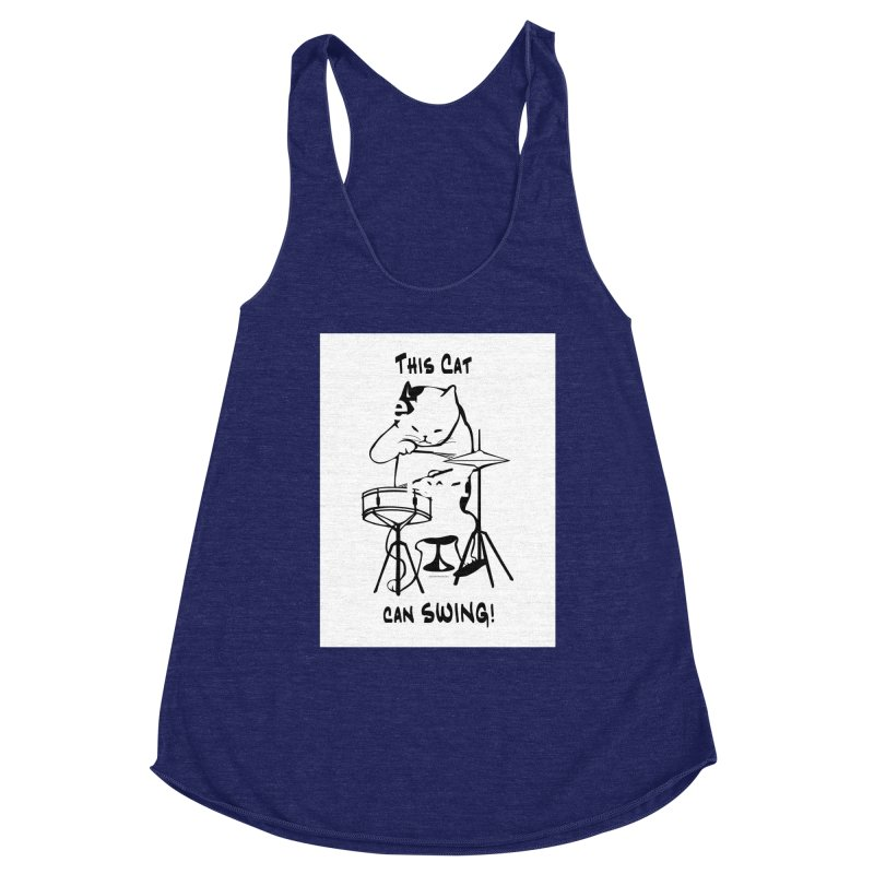 THIS CAT CAN SWING! Women's Racerback Triblend Tank by EdHartmanMusic Swag Shop!