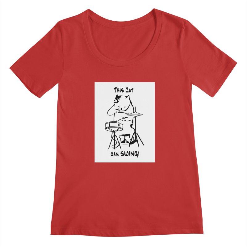 THIS CAT CAN SWING! Women's Regular Scoop Neck by EdHartmanMusic Swag Shop!