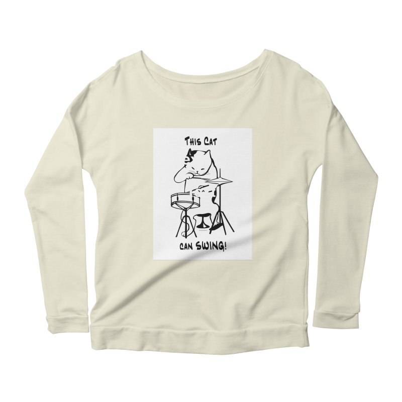 THIS CAT CAN SWING! Women's Scoop Neck Longsleeve T-Shirt by EdHartmanMusic Swag Shop!