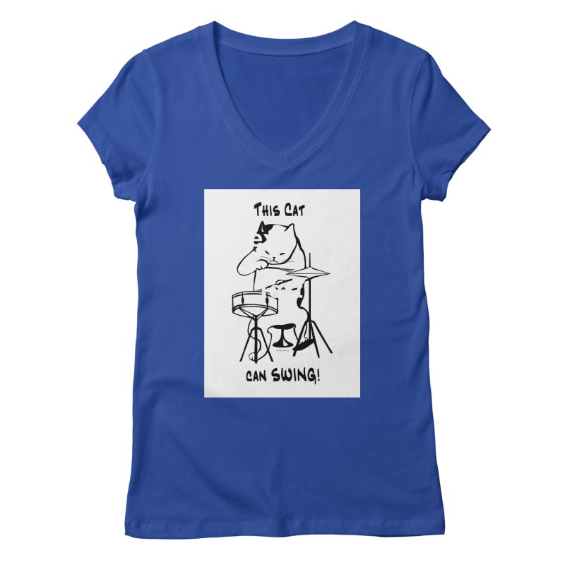 THIS CAT CAN SWING! Women's V-Neck by EdHartmanMusic Swag Shop!