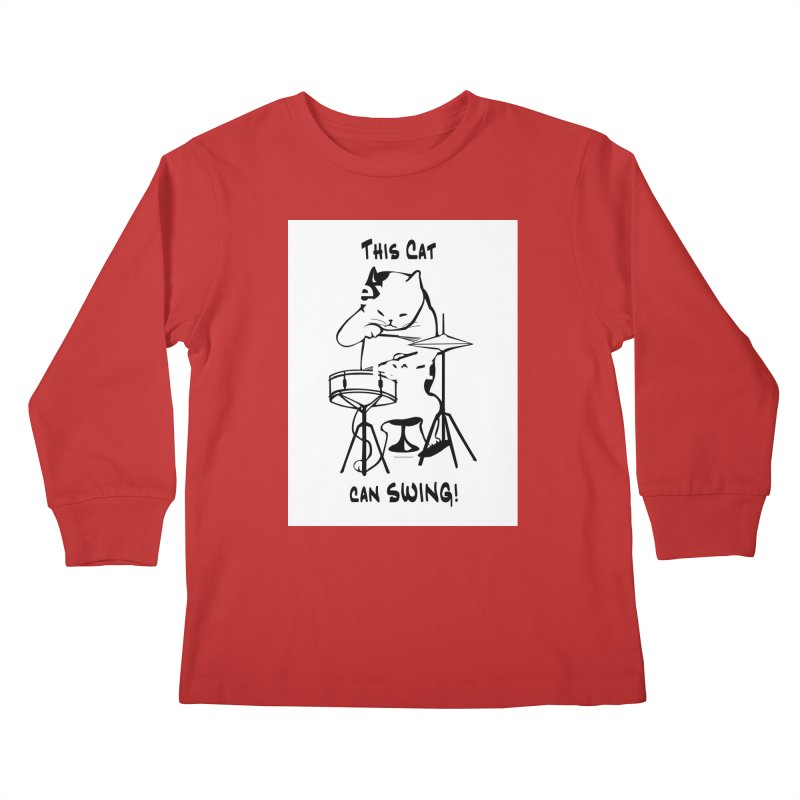 THIS CAT CAN SWING! Kids Longsleeve T-Shirt by EdHartmanMusic Swag Shop!