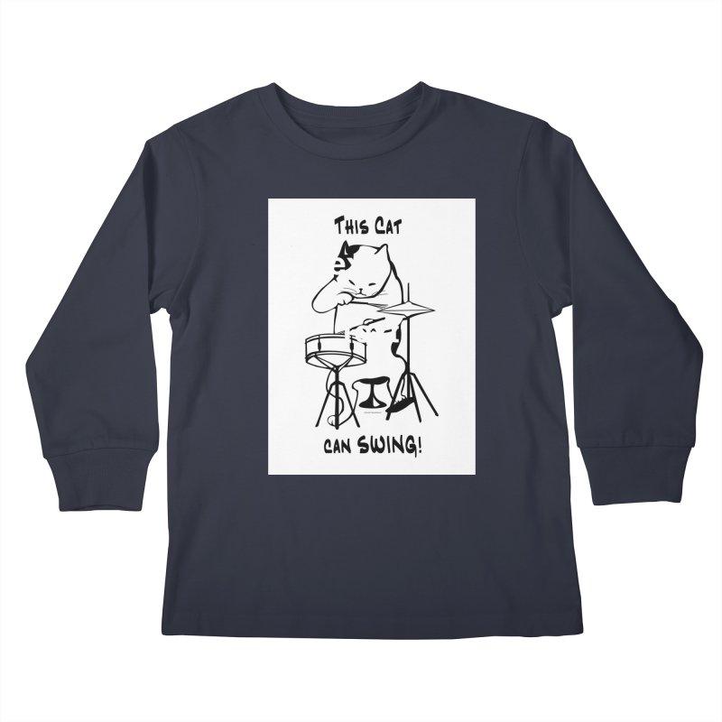 THIS CAT CAN SWING! Kids Longsleeve T-Shirt by EdHartmanMusic Swag Shop!
