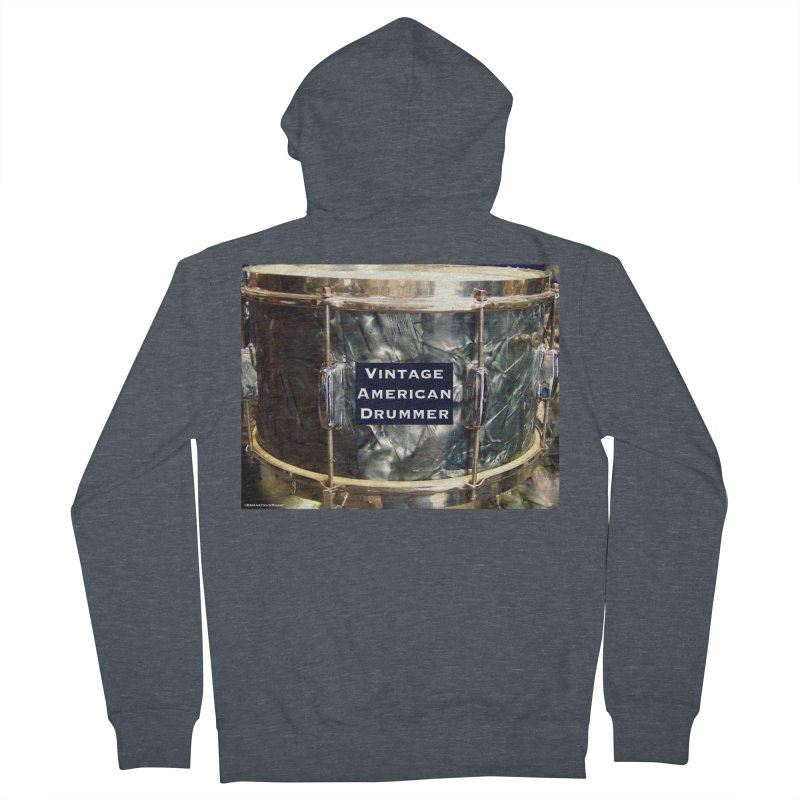 Vintage American Drummer Women's French Terry Zip-Up Hoody by EdHartmanMusic Swag Shop!