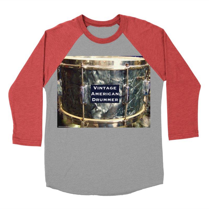 Vintage American Drummer Women's Baseball Triblend Longsleeve T-Shirt by EdHartmanMusic Swag Shop!