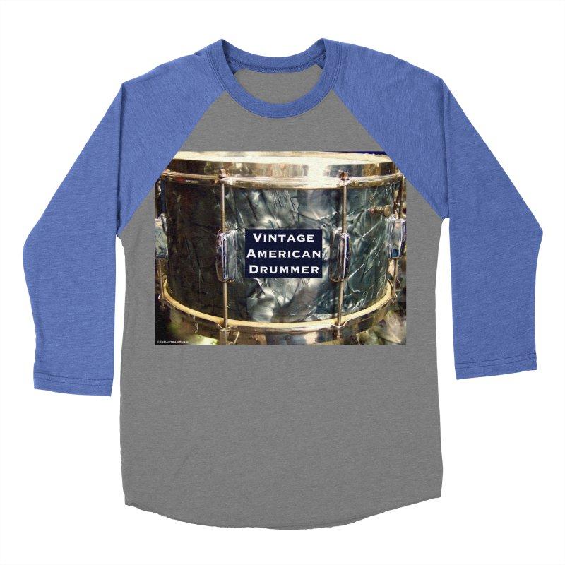 Vintage American Drummer Men's Baseball Triblend Longsleeve T-Shirt by EdHartmanMusic Swag Shop!