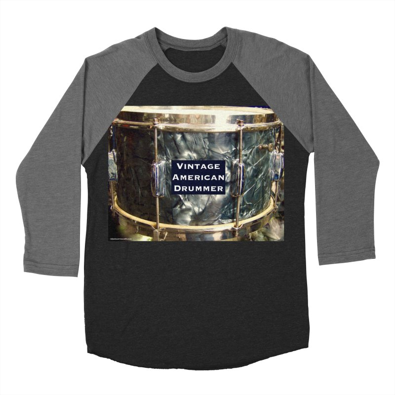 Vintage American Drummer Men's Baseball Triblend Longsleeve T-Shirt by EdHartmanMusic Swag Shop!