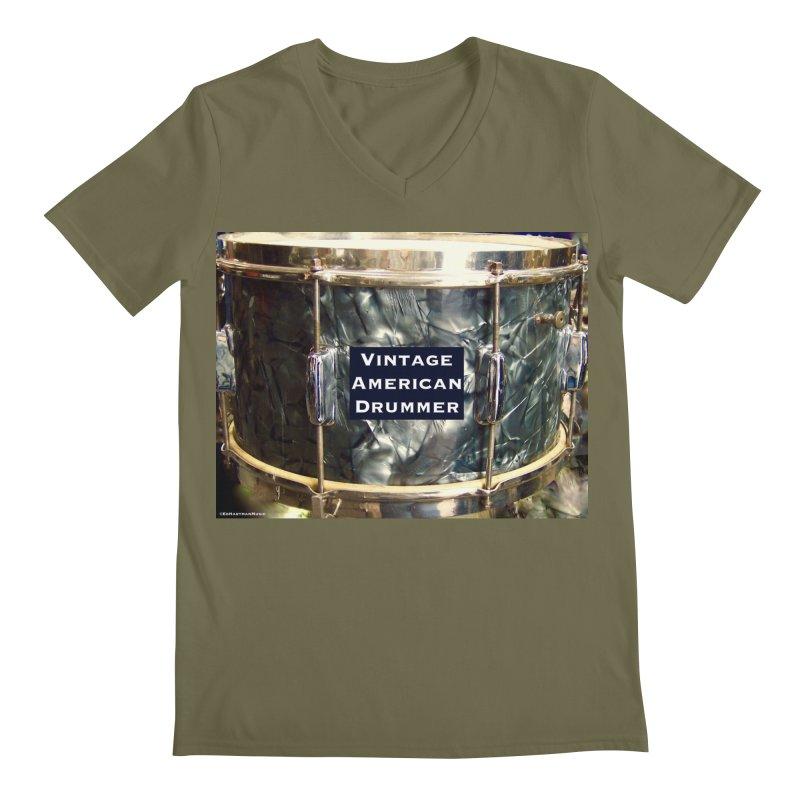 Vintage American Drummer Men's Regular V-Neck by EdHartmanMusic Swag Shop!