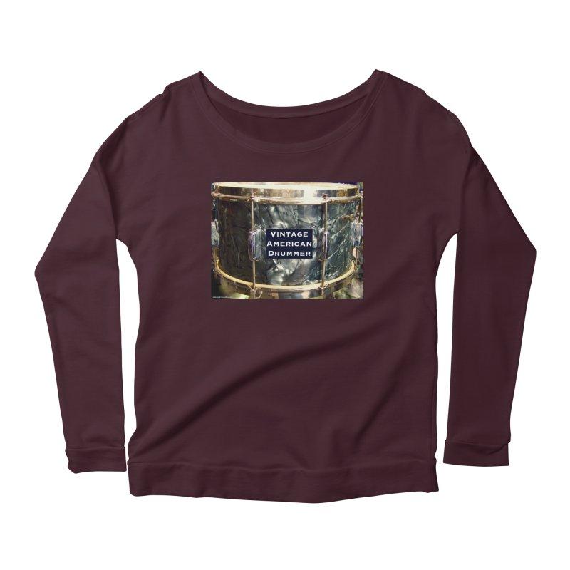 Vintage American Drummer Women's Scoop Neck Longsleeve T-Shirt by EdHartmanMusic Swag Shop!
