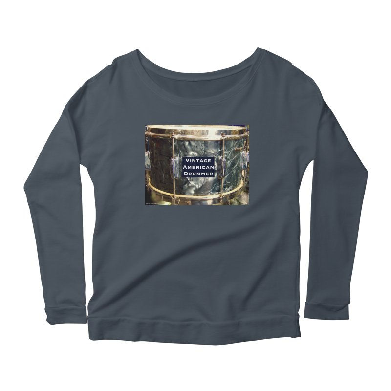 Vintage American Drummer Women's Scoop Neck Longsleeve T-Shirt by EdHartmanMusic Swag Shop!