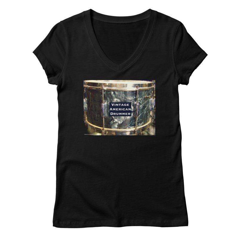 Vintage American Drummer Women's V-Neck by EdHartmanMusic Swag Shop!