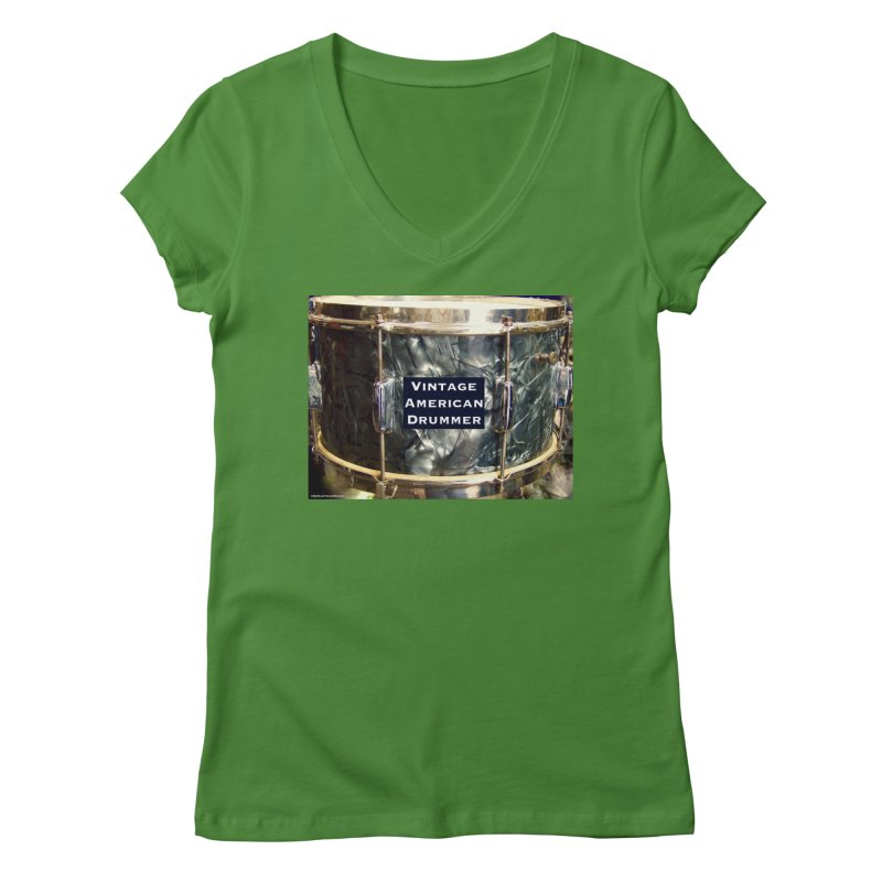 Vintage American Drummer Women's Regular V-Neck by EdHartmanMusic Swag Shop!